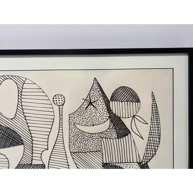 1960s Mid-Century Modern 1969 Series III Pen-Ink Abstract Painting by Listed Artist Rene Marcel Gruslin For Sale - Image 5 of 12