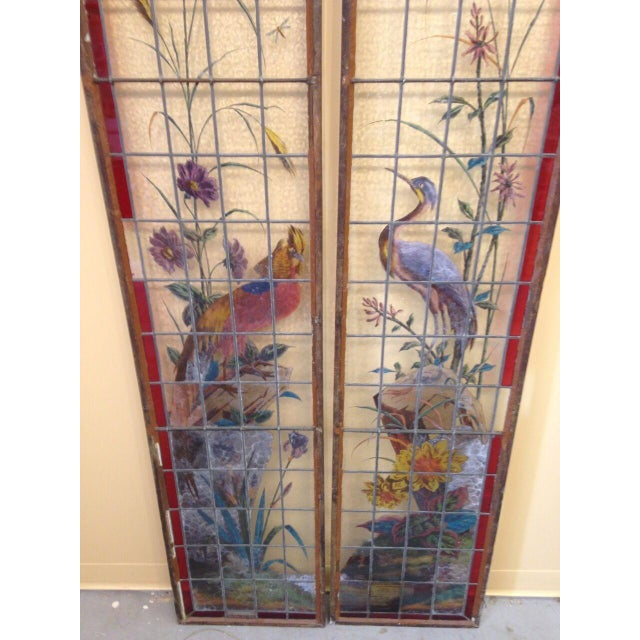 Burnt Orange Late 19th Century French Painted and Fired Stained Glass Windows - a Pair For Sale - Image 8 of 13