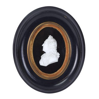 Late 19th Century Antique Carved Alabaster Marble Miniature Profile of Man Portrait For Sale