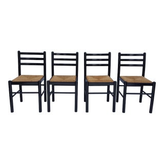 Italian Ladder Back Woven Rush Seats Dining Chairs - Set of 4