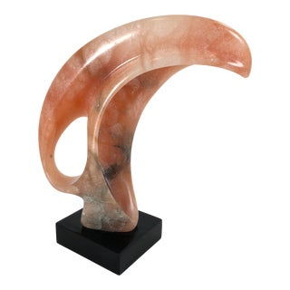 Late 20th Century Abstract Pink Marble Sculpture on Black Base For Sale