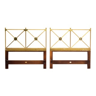 Pair of Empire Style Solid Brass Twin Headboards by Baker Furniture For Sale
