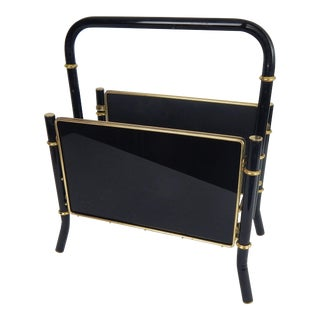 Black Faux Bamboo Magazine Rack For Sale