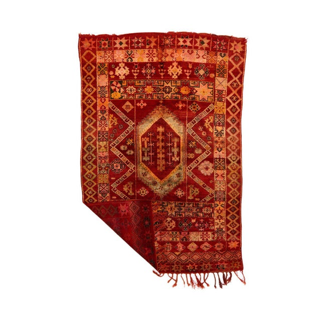 Vintage, one of a kind, original Azilal Moroccan rug, hand-woven by women in the atlas mountains.