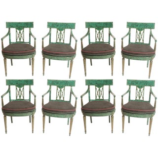 Maitland Smith Malachite Painted Dining Chairs - Set of 8