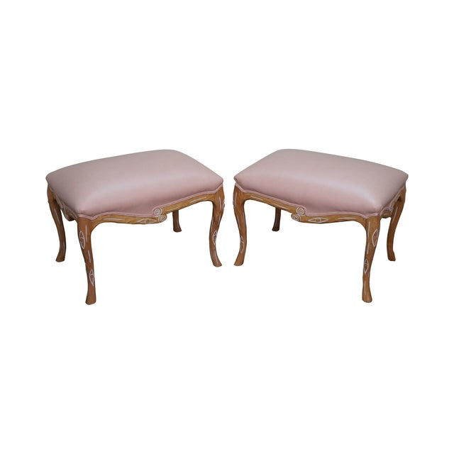 Unusual Faux Branch Leather Ottomans - A Pair - Image 1 of 10
