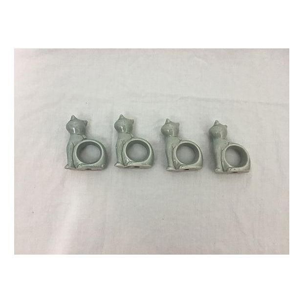 Ironstone Celadon Cats Napkin Rings - Set of 4 - Image 4 of 9