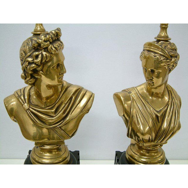 Brass Classical Bust Lamps - A Pair For Sale In Richmond - Image 6 of 8