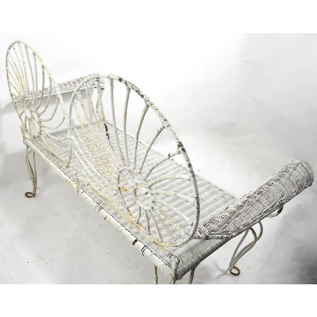 Nautilus Shell Back Wicker and Iron Garden Bench For Sale - Image 10 of 11