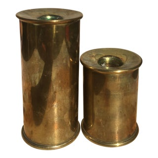 Vintage Mod Cylindrical Brass Candle Holders - a Pair For Sale