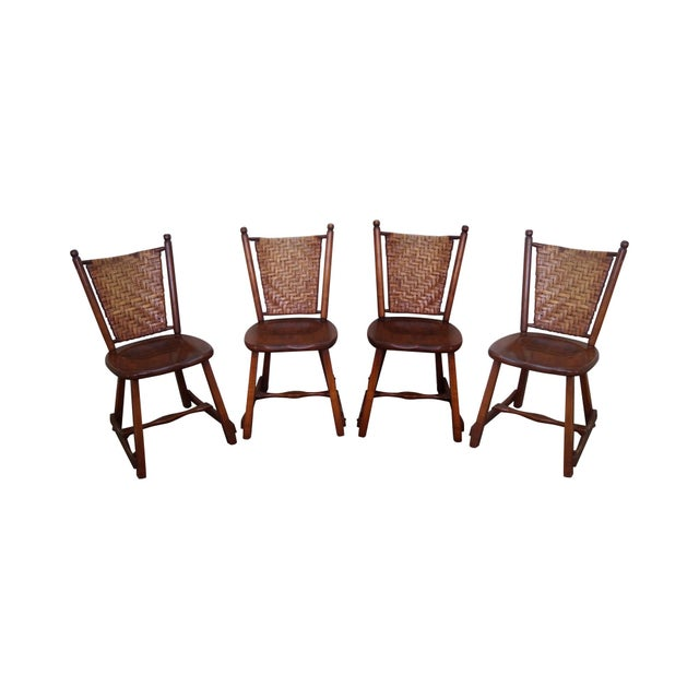Old Hickory Signed Vintage Woven Splint Back Dining Chairs - Set of 4 For Sale