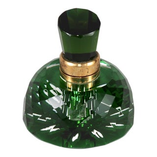 Vintage Emerald Green Cut Crystal Inkwell