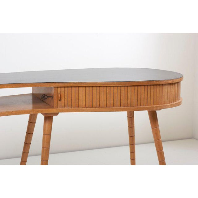 Eduard Ludwig Light 1950s Ladies Desk or Vanity With Tambour Door Attributed to Eduard Ludwig For Sale - Image 4 of 13