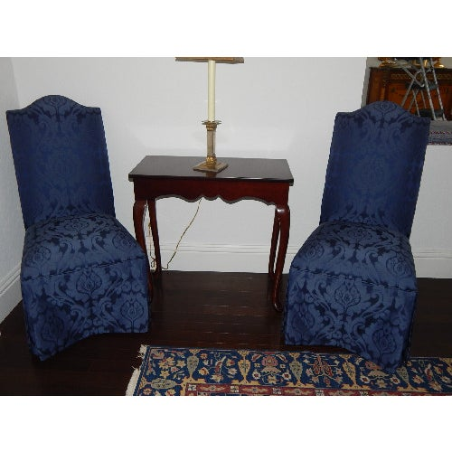 Ethan Allen Mitchell Skirted Chairs - Pair - Image 3 of 6