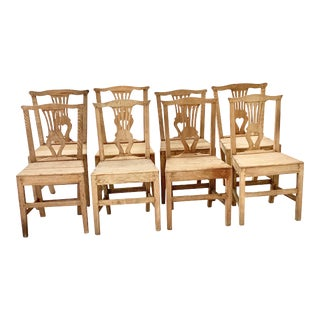 Early 19th Century Georgian Dry Scraped Oak Dining Chairs- Set of 8 For Sale