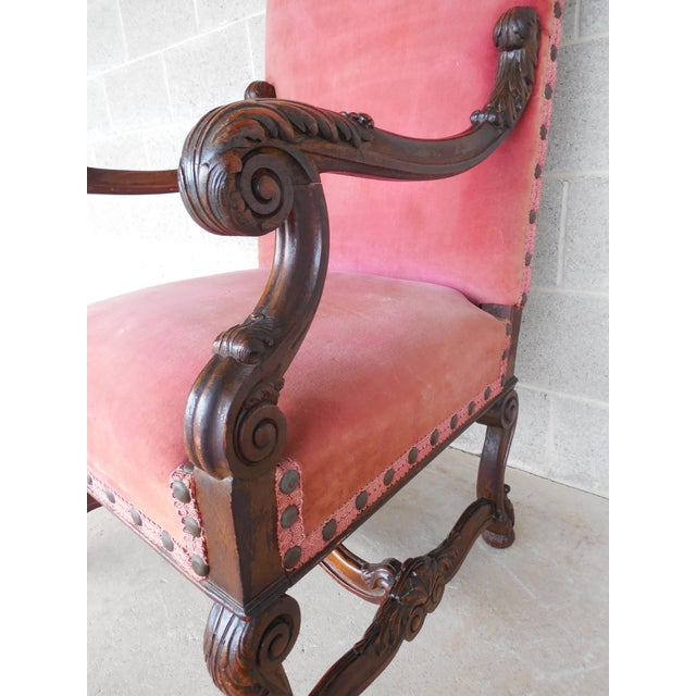 Vintage Carved Gothic Renaissance Style Arm Chair - Image 8 of 11