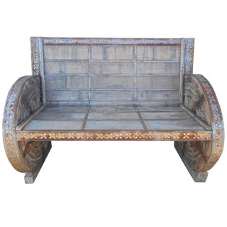 Vintage Metal and Wood Rustic Bench For Sale