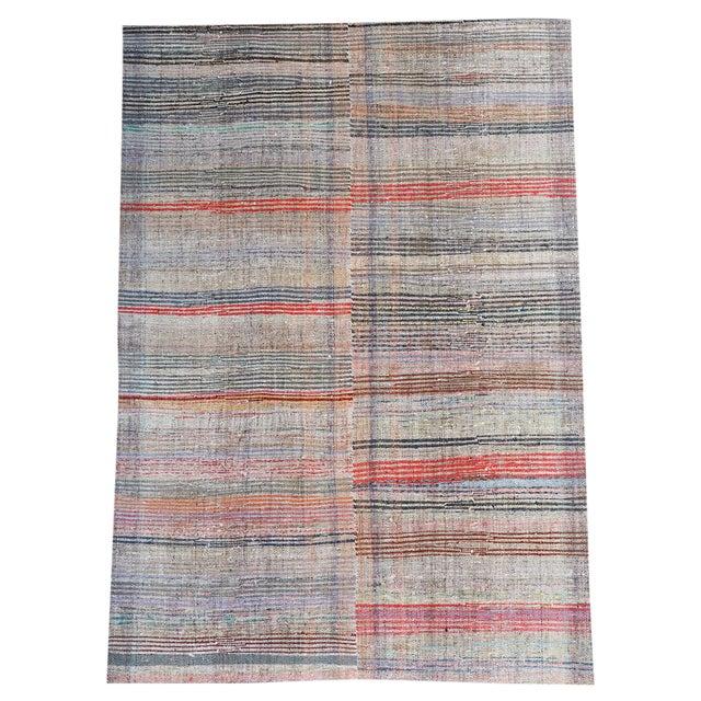 Vintage Turkish Modern Striped Flatweave Handmade Rug - 5′8″ × 8′2″ For Sale