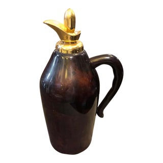 1960s Italian Mid-Century Modern Aldo Tura Brown Goatskin and Brass Thermos Carafe For Sale