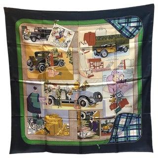 Hermes Vintage Confort en Automobile Silk Scarf in Navy For Sale