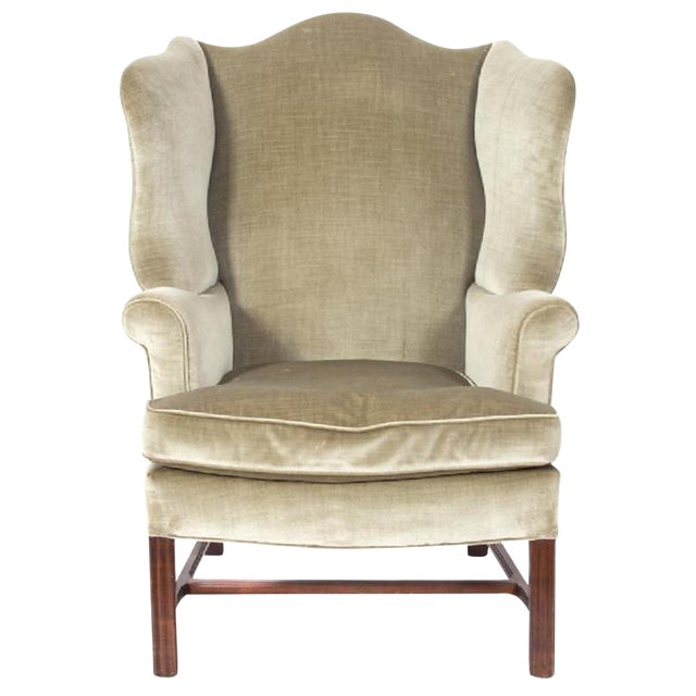 George III Style Mahogany Wing Chair For Sale