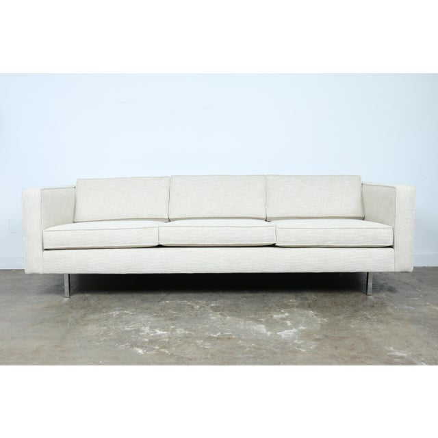 A just reupholstered Mid-Century sofa in excellent condition, featuring chrome legs. No damages on legs. Very well taken...