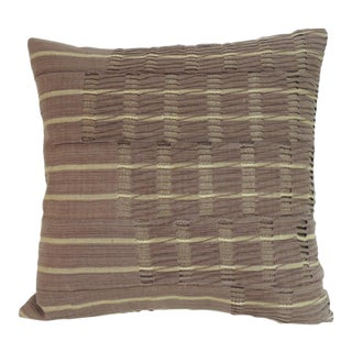 "African Brown ""Yoruba"" Lace Woven Textile Decorative Pillow For Sale"