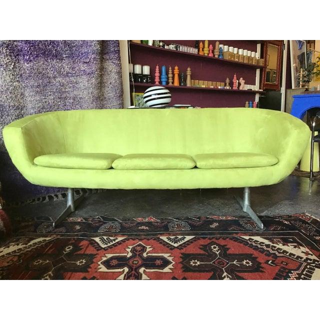 1960s Vintage Lime Green Velvet Overman Pod Sofa For Sale - Image 9 of 9
