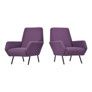 Pair of Reupholstered Italian Vintage Armchairs in Metal and Purple Fabric,1950s For Sale