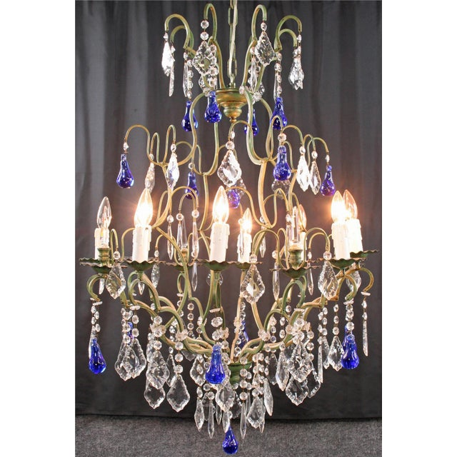 Large Maria Theresa Style 12-Arm Chandelier Blue - Image 2 of 8