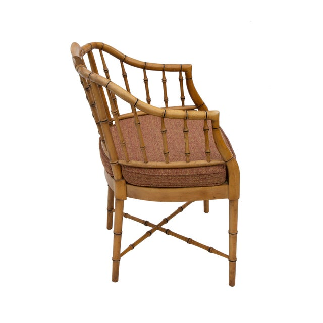 1970s Faux Bamboo Armchair With Caned Seat For Sale - Image 5 of 10