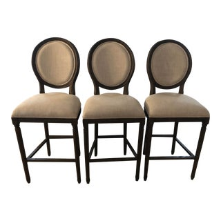 Restoration Hardware Vintage French Round Fabric Bar Stools - Set of 3 For Sale