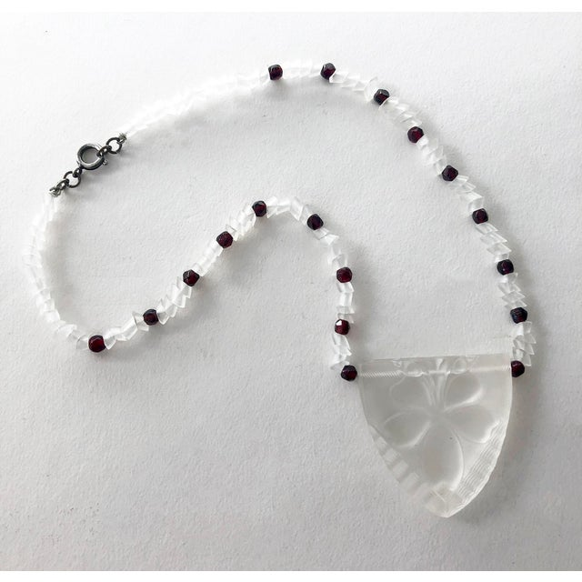 """Art Deco Czechoslovakian glass pendant with handcut beads, possibly garnets circa 1920s or 1930s. Necklace length is 14""""..."""
