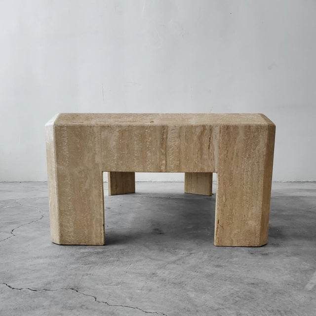 Contemporary Rectangular Post-Modern Italian Travertine Coffee Table For Sale - Image 3 of 8