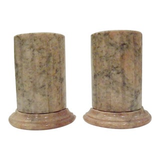 1960s Mid Century Greek Column Marble Book Ends - a Pair For Sale