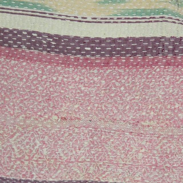 Primitive Pink Bengal Kantha Lumbar Pillow For Sale - Image 3 of 3