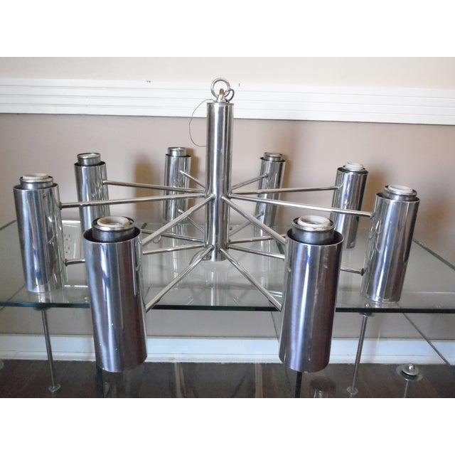 Silver Vintage Mid Century Modern Chrome Starburst Chandelier For Sale - Image 8 of 12
