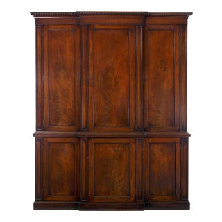 19th Century English Mahogany Blind-Door Breakfront Library Bookcase Cabinet For Sale