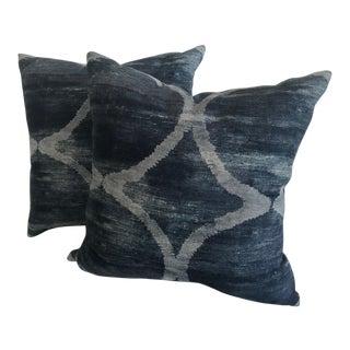 Kravet Blue Linen Pillows - a Pair