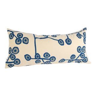 Scandinavian Floral Cream Lumbar Pillow For Sale