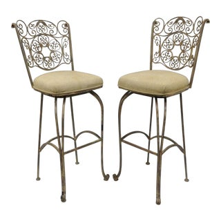 Wrought Iron Fancy Swivel Bar Stool Woodard Andalusian Scrolling Metal - A Pair For Sale