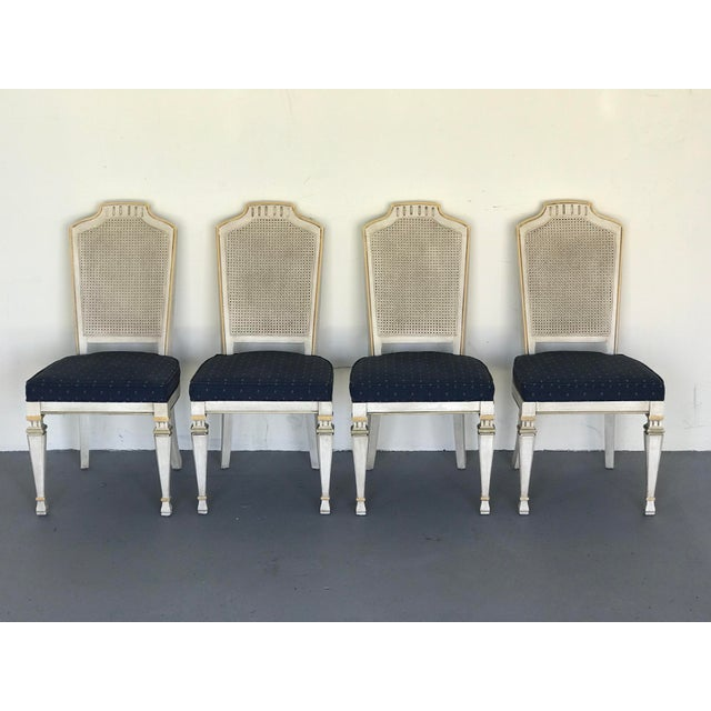 1970s Vintage Drexel Siena Furniture Italian Neoclassical Cane Back Dining Chairs- Set of 4 For Sale - Image 13 of 13