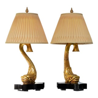 Gilt Wood Neoclassical Dolphin Table Lamps, a Pair For Sale