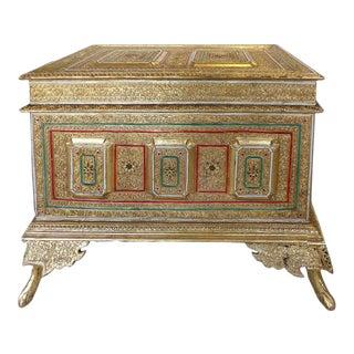 Huge Ornate Gilt & Embellished Trunk From India For Sale