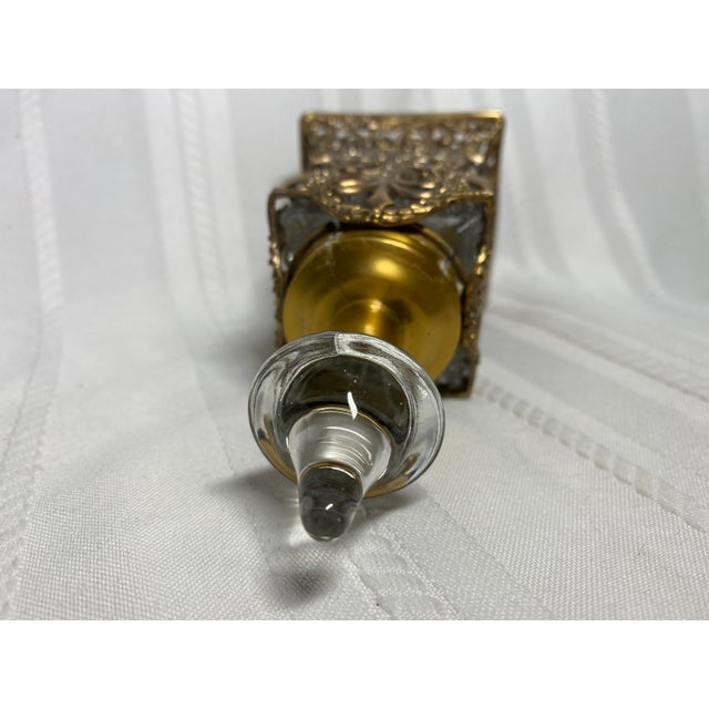 1930s 1930s Vintage Art Nouveau Goldtone & Crystal Apollo Perfume Bottle For Sale - Image 5 of 9