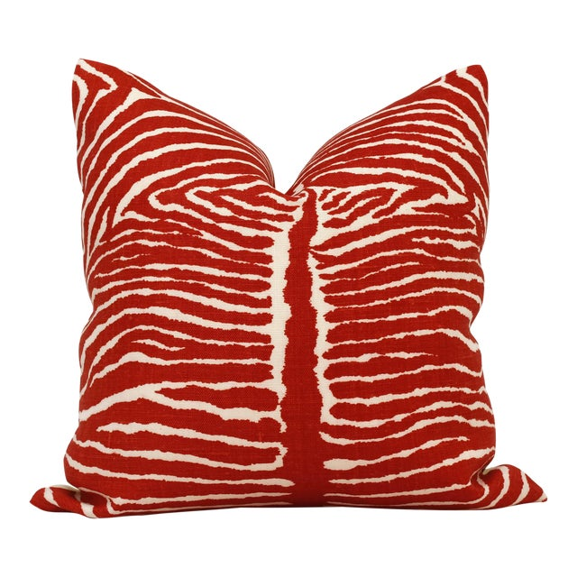 Transitional Red Le Zebre Linen Pillow Cover For Sale