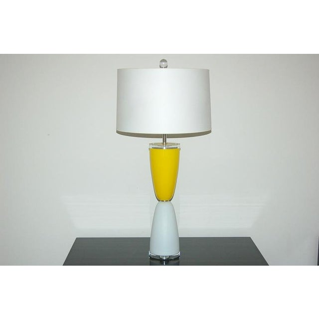 Hollywood Regency Vintage Murano Glass Table Lamps Yellow White For Sale - Image 3 of 7