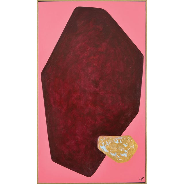 2020s Martina Pink Hand Painted Canvas With Gold Leaf Accents For Sale - Image 5 of 5