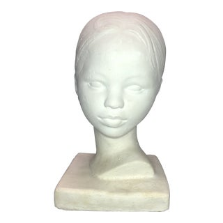 Vintage Ceramic Bust of a Young Girl For Sale