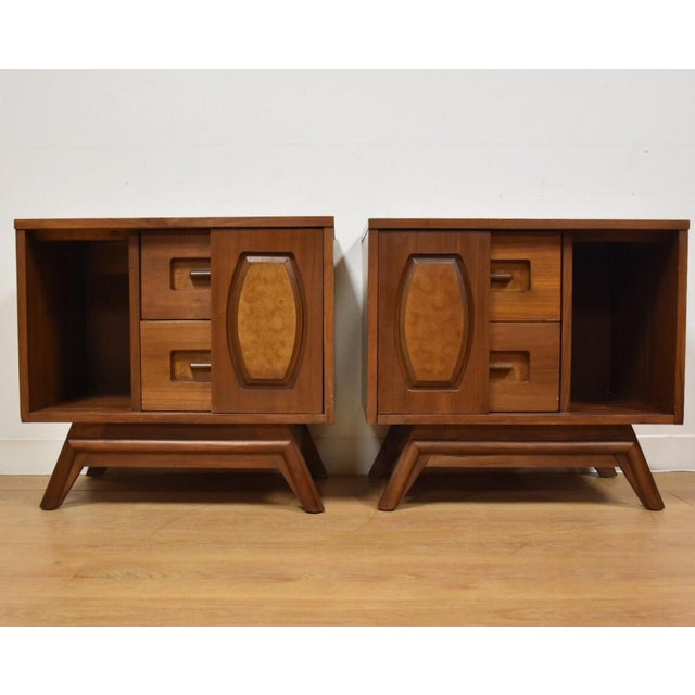 Young Walnut Nightstands - Pair - Image 3 of 10